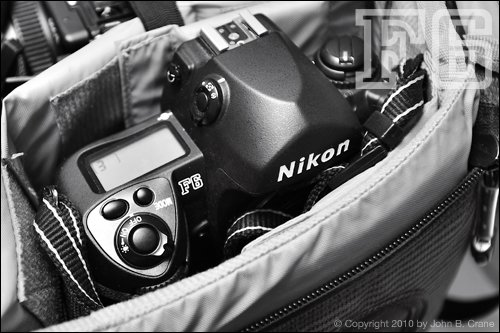 Nikon F6 35mm film camera packed and ready to travel in the Lowe Pro Photo Trekker AW.