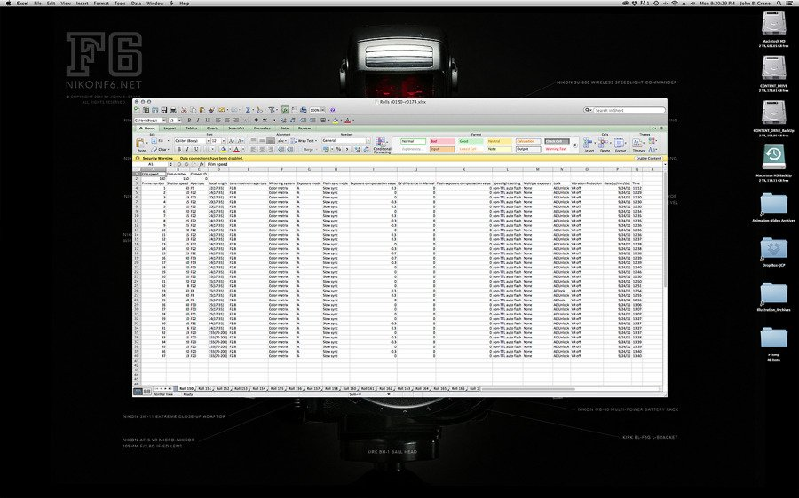 Example of .txt file imported from the F6 using the MV-1, then imported into an Excel spread sheet.