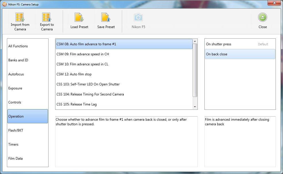 Nikon F5 Custom Settings Menu using meta35 Software