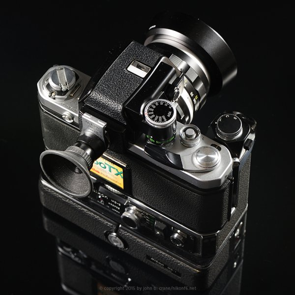 Nikon F2 shown with DP-1 metered prism, MD-2 motor drive, MB-1 battery pack