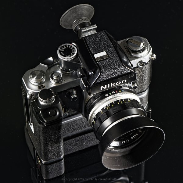 Nikon F2 shown wit: Nikon 35mm/1:2.8, DP-1 metered prism, MD-2 motor drive, MB-1 battery pack and DG-2 magnifier