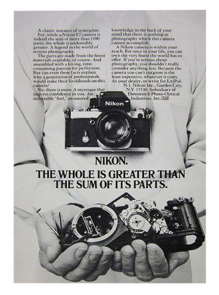 Nikon advertisement summarizing how I feel exactly about the F2.