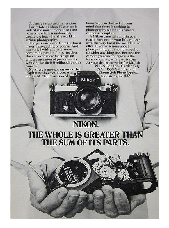 This original Nikon F2 advertisement hangs proudly, framed on my office wall, summarizing precisely how I feel about the F2.