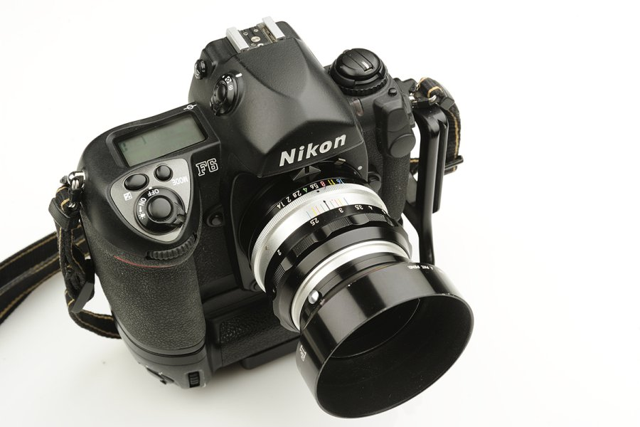 The F6 with a Pre-AI 50mm 1.4 lens mounted.