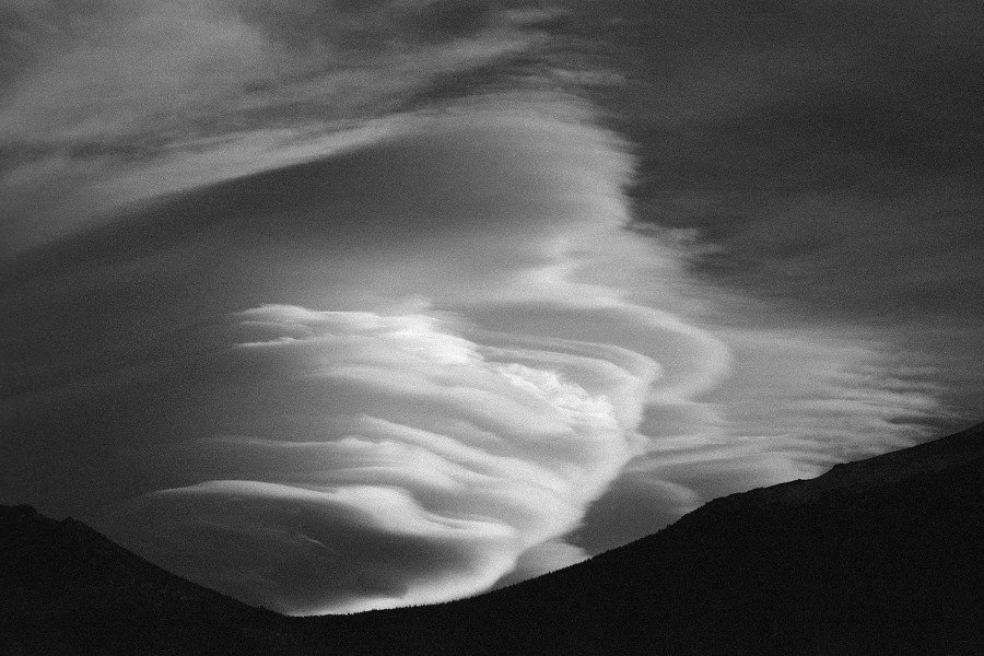 Altocumulus lenticularis clouds, Rocky Mountain National Park, Colorado. ILFORD Delta 100 (w/ Red R60 filter) developed in ILFORD DDX.