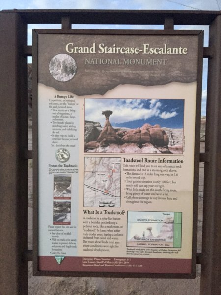 Grand Staircase-Escalante National Monument signage along Hwy 89 North out of Page, Arizona.