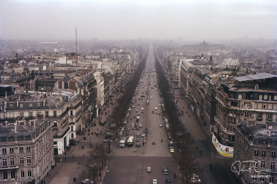 View of Paris from Arc de Triomphe, 1957