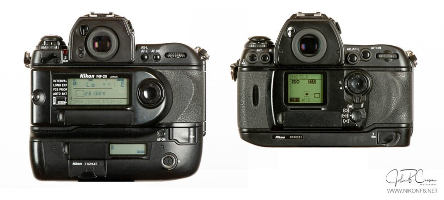 Nikon F5 vs Nikon F6-Rear View