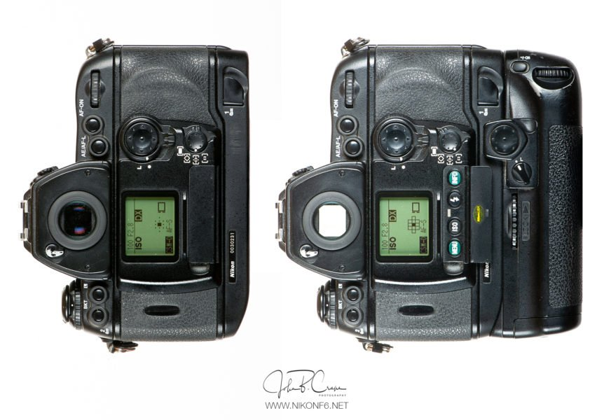 Nikon F6 with and without MB-40 Grip