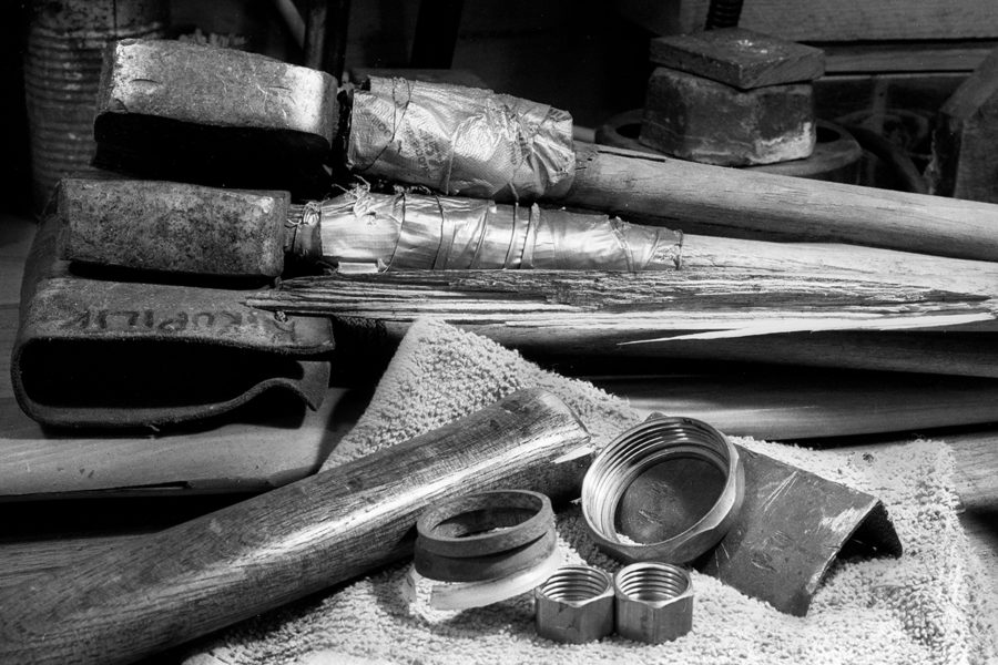 frame 37-The Shop Series; Hammer and Ax handles in duct tape.