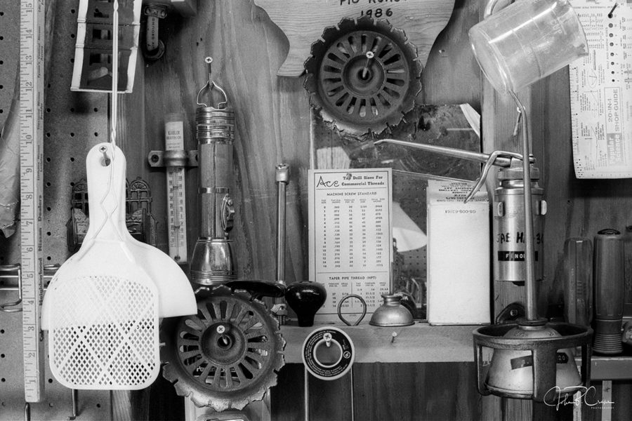 frame 04 - Fly swatters, dust pans, flashlights, rulers, oil cans, tapes of different flavors... there's something tucked into every square inch of the shop.