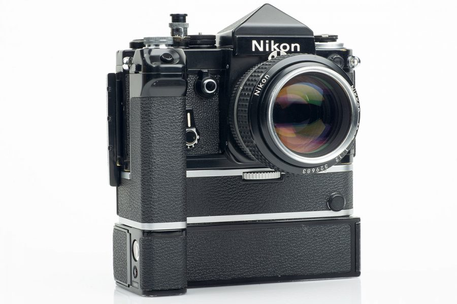 Nikon F2 shown with DE-1 non-metered prism finder, AR-1 soft shutter release, MB-1 battery pack, MD-2 motor drive, MF-3 camera back and Nikkor 50mm ƒ1.2 AI-S lens.