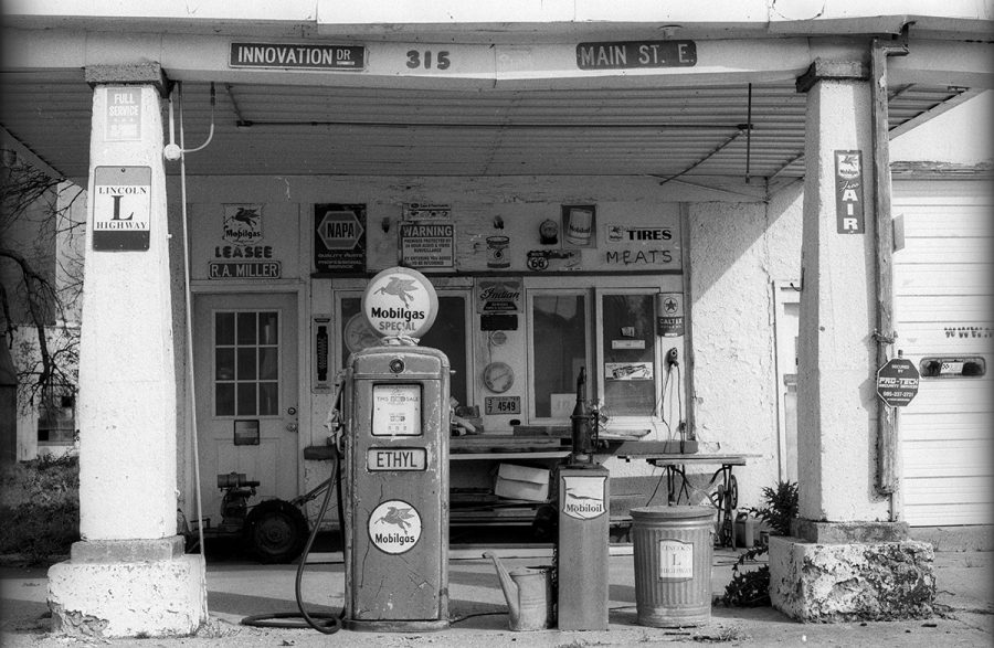 R.A. Miller Mobil station, along the Lincoln Highway in Grand Junction, Iowa.